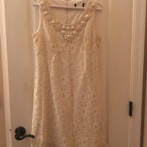 White jeweled neck dress
